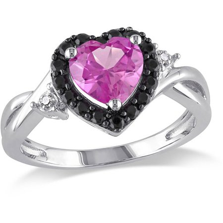 Tangelo - 1-7/8 Carat T.G.W. Created Pink Sapphire, Black Spinel and Diamond-Accent Sterling Silver Heart Ring - Walmart.com - Walmart.com