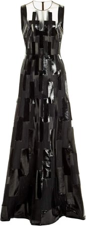 Akris Patent-Embellished Tulle Gown