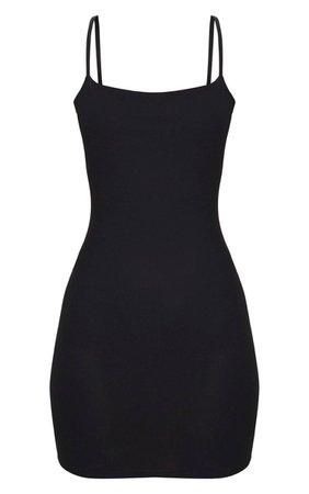 Black Strappy Straight Neck Bodycon Dress | PrettyLittleThing