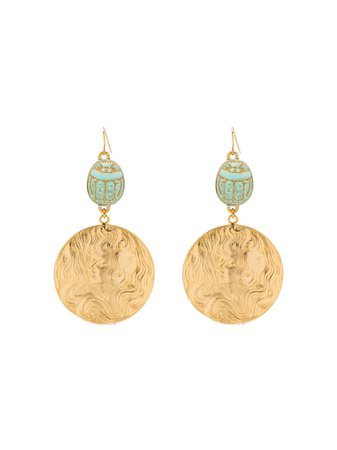 Rixo Margaery Gold-Tone Turquoise Medallion Earrings RIX102476120722000 | Farfetch