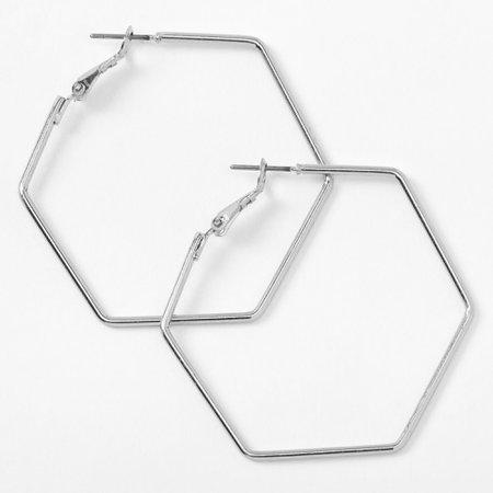 Silver 40MM Hexagon Hoop Earrings | Claire's US