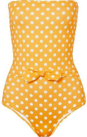 VerdeLimón - Porto Polka-dot Bandeau Swimsuit - Yellow