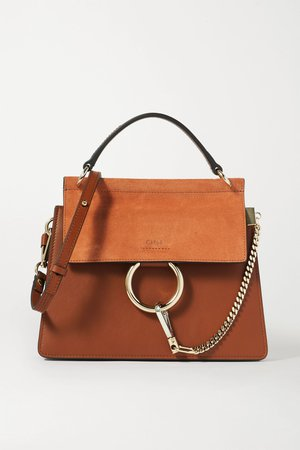 Brown Faye leather and suede shoulder bag | Chloé | NET-A-PORTER