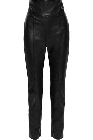 Black Leather slim-leg pants | ALEXANDRE VAUTHIER |
