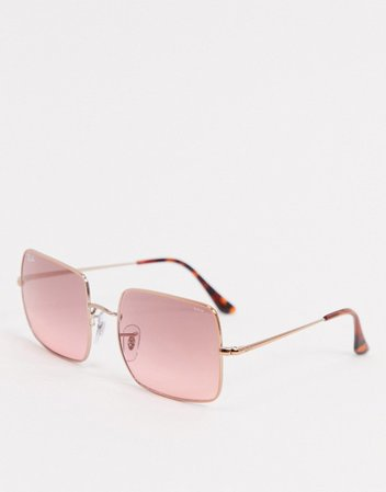 Rayban oversized square sunglasses in gold and pink | ASOS