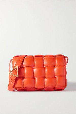 Cassette Intrecciato Quilted Leather Shoulder Bag - Orange