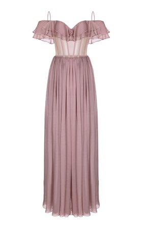 Rasario Ruffled Silk-Chiffon Corset Gown Size: 34