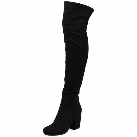 Womens Low Block Heel Thigh High Slouch Fashion Winter Over Knee Boots Black Suede MMXKDXFXL