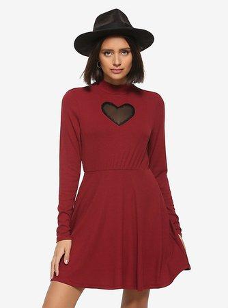 Heart Cutout Mock Neck Long-Sleeve Dress