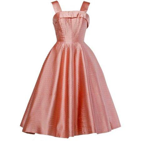 Vintage 1950s 50s Heavy Satin Pin Tuck Party Dress
