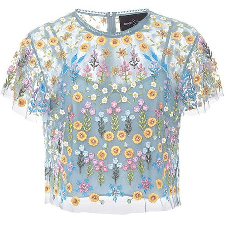 Needle & Thread Flowerbed Embroidered Top