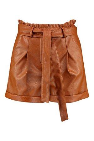 Leather Look Turn Up Tie Waist Shorts | Boohoo UK
