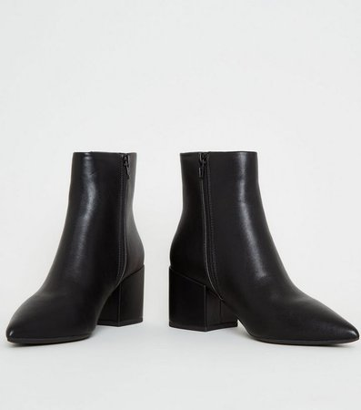 Black Leather-Look Pointed Block Heel Boots | New Look