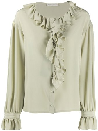 Shop green Etro ruffle trimmed silk blouse with Express Delivery - Farfetch