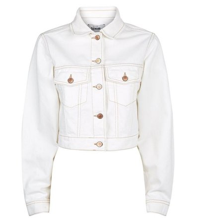 Off White Cropped Denim Jacket | New Look