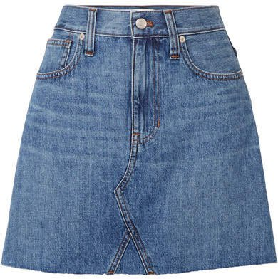 Frisco Distressed Denim Mini Skirt - Mid denim