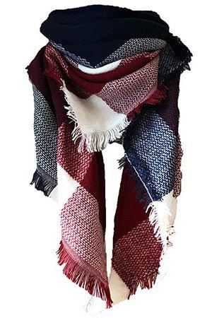 Blue Purplish Red Plaid Blanket Scarf