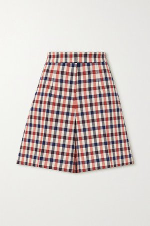 Checked Jacquard Shorts - Red