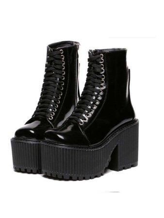 Black metallic platform combat boots