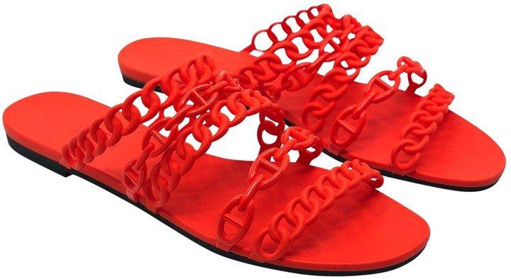 Nude Orange Rubber Sandals