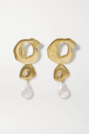 Gold + Space for Giants gold-tone pearl earrings | Leigh Miller | NET-A-PORTER
