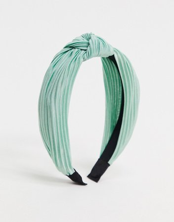 My Accessories London Exclusive plisse knotted headband in sage green | ASOS
