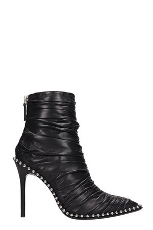 Alexander Wang Black Leather Eri Ruched Ankle Boots