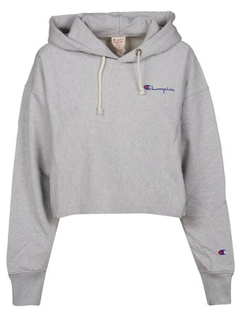 Champion Cropped Embroidered Logo Hoodie