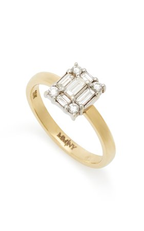 Clarity Cube Yellow-Gold and Diamond Ring by Mindi Mond   Moda Operandi