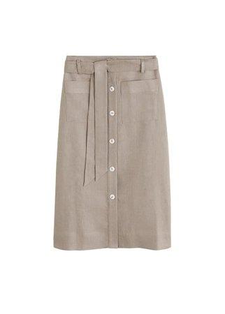MANGO Linen pocketed skirt