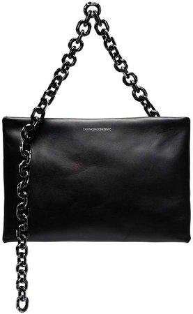 black skull chain leather clutch bag