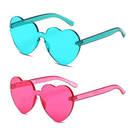 Amazon.com: Heart Transparent Multicolor Party Favors Big Rimless Sunglasses for Women (1pc Hotpink + 1pc Turquoise): Clothing