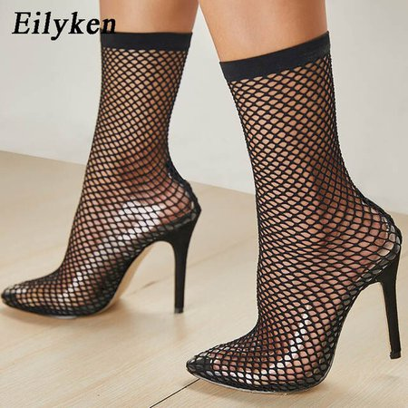 Online Shop Eilyken 2020 PVC Fashion Transparent Mesh Stretch Fabric Sock Boots Thin Heels Pointed Toe Ankle Woman Boot Black | Aliexpress Mobile_en title