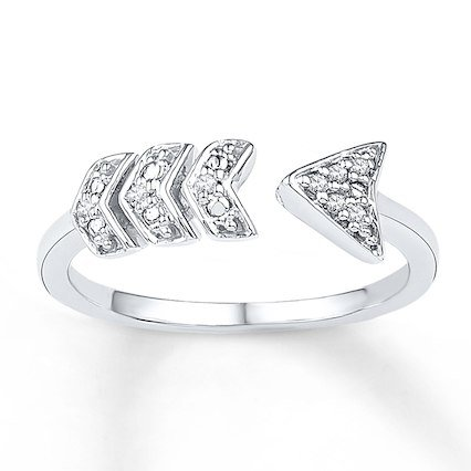 Kay - Midi Arrow Ring Diamond Accents Sterling Silver
