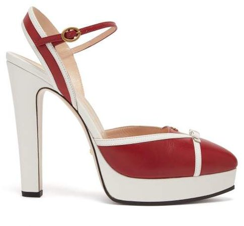 Alison Leather Platform Pumps - Womens - Red White