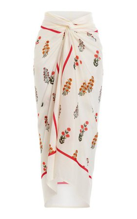 Lavanda Dahlia-Printed Cotton-Silk Pareo By Agua By Agua Bendita   Moda Operandi