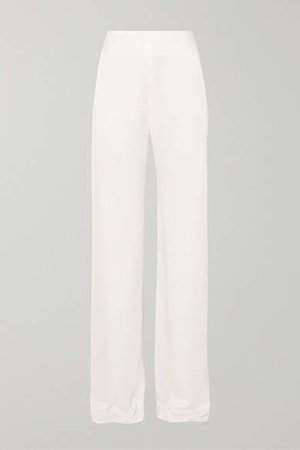 Selina Satin Wide-leg Pants - Ivory