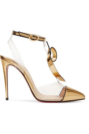 Christian Louboutin | Alta Firma 100 appliquéd PVC and metallic leather pumps | NET-A-PORTER.COM