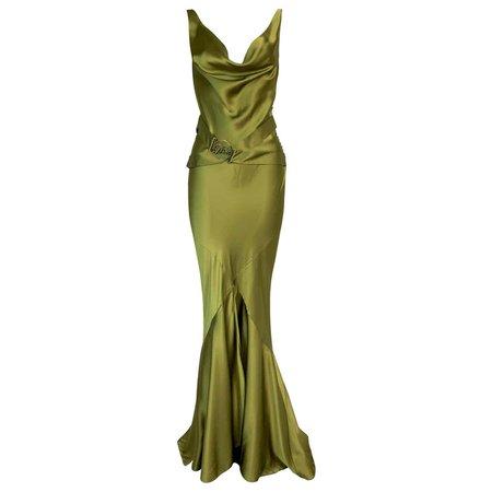 F/W 2004 Christian Dior John Galliano Green Satin Gown Dress w Logo Belt For Sale at 1stDibs