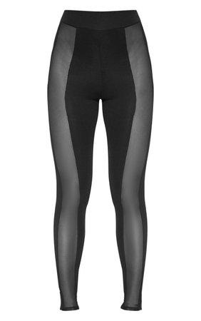 Black Mesh Panel High Waisted Leggings | PrettyLittleThing