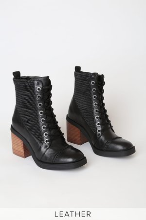 Kelsi Dagger Weaver Black - Leather Ankle Boots - Lace-Up Boots