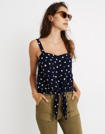 Button-Front Tie Tank in Daisy Dots