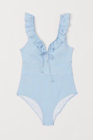 Swimsuit with Ruffles - Blue