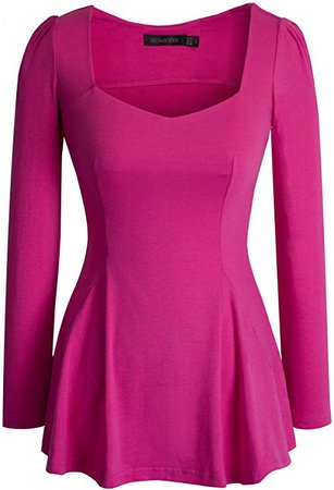 HOMEYEE Women's Vintage Square Neck Long Sleeve Peplum Tops Blouse 542 at Amazon Women's Clothing store