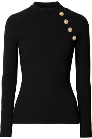 Balmain | Button-embellished jacquard-knit sweater | NET-A-PORTER.COM