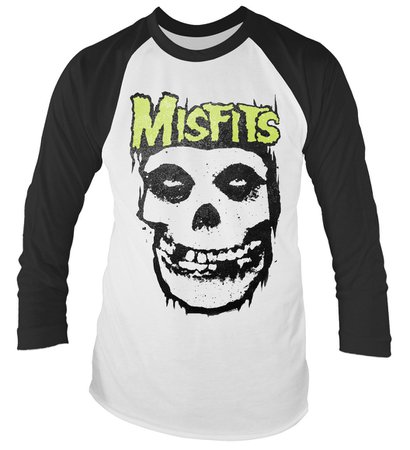 Eyesore Merch Misfits 'Logo Skull' Long Sleeved Baseball Shirt