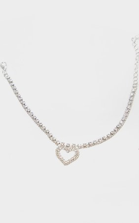 Silver Diamante Heart Anklet | PrettyLittleThing USA
