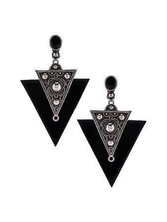 Saint Laurent Marrakech Triangle Earrings in Oxidized Silver & Black | FWRD