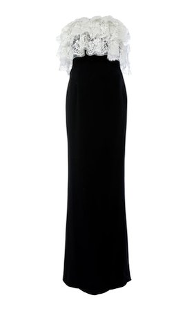 Alessandra Rich Ruffled Lace Bustier Wool Crepe Maxi Dress