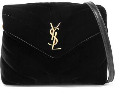 Loulou Quilted Velvet Shoulder Bag - Black